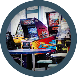 Lounge Area with Arcade Games